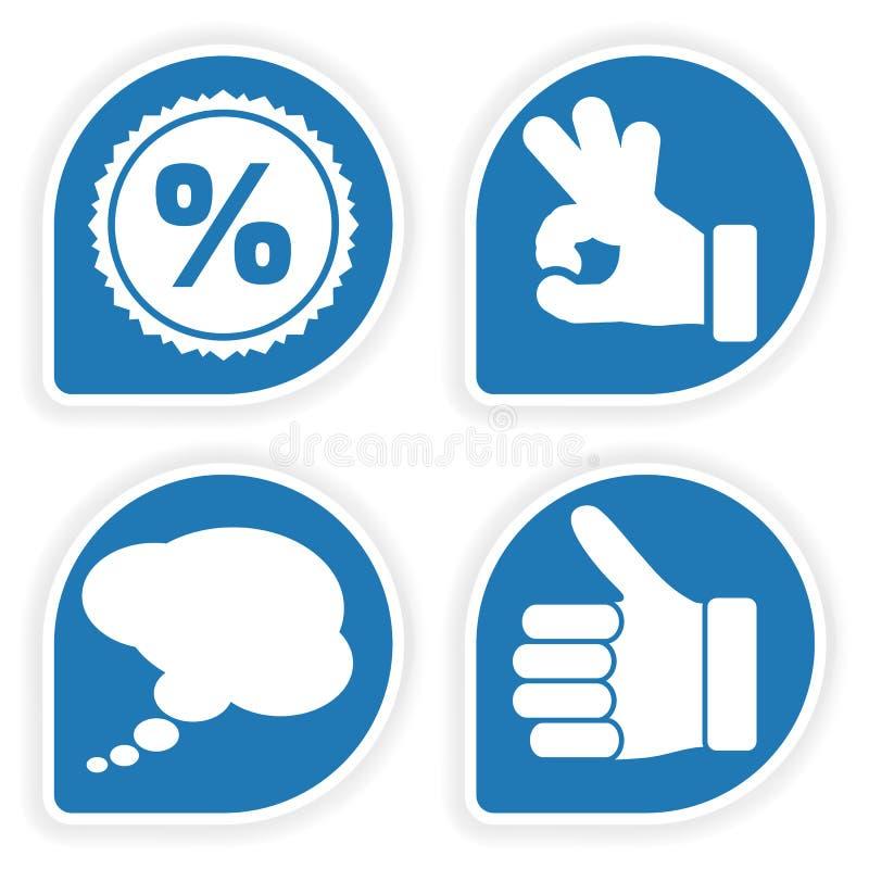 Recoja la etiqueta engomada con el icono de la mano ilustración del vector
