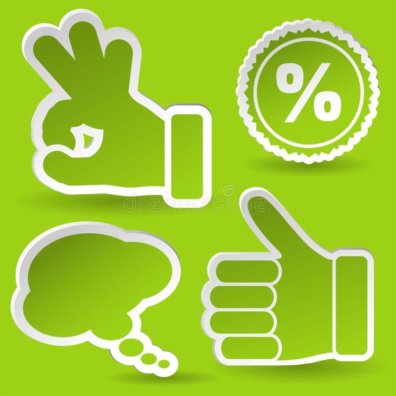 Recoja la etiqueta engomada con el icono de la mano y del sello libre illustration