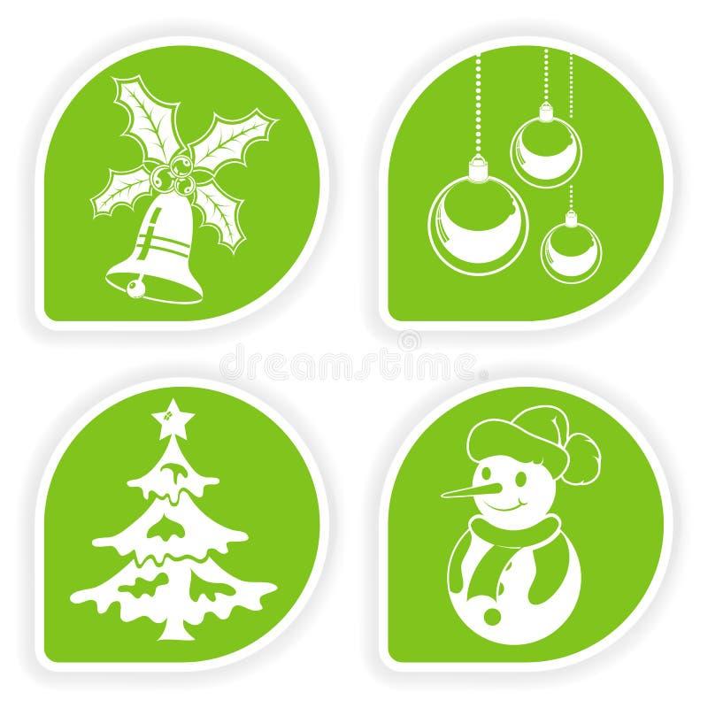 Recoja la etiqueta engomada de la Navidad stock de ilustración