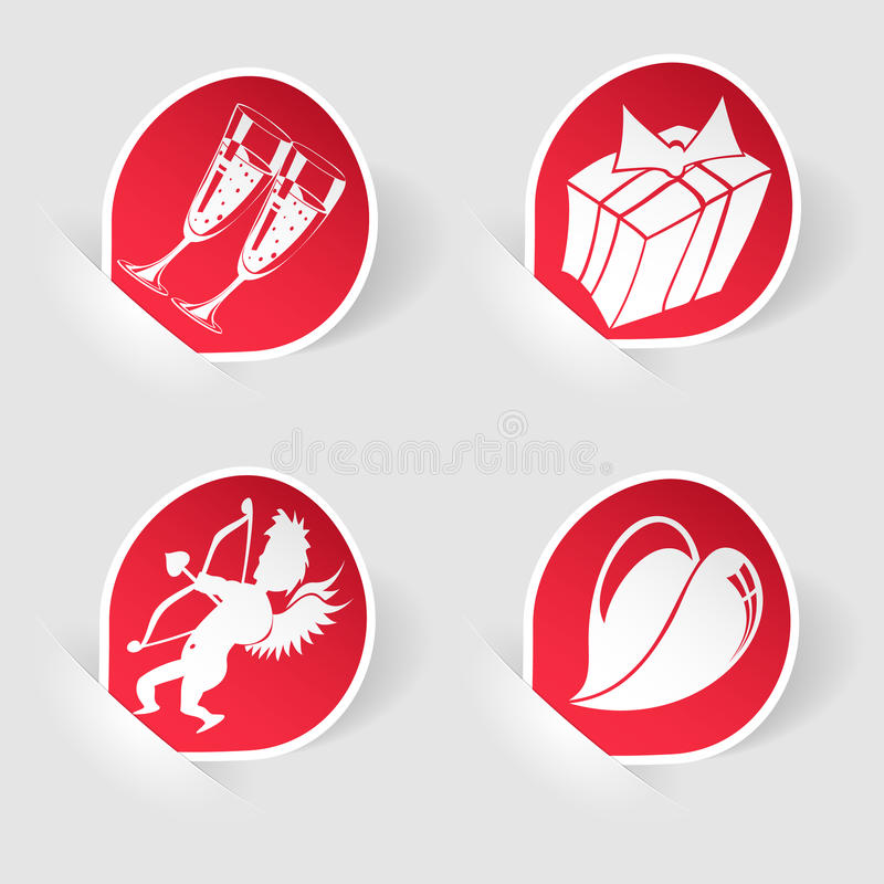 Recoja la etiqueta engomada para el día de tarjeta del día de San Valentín ilustración del vector