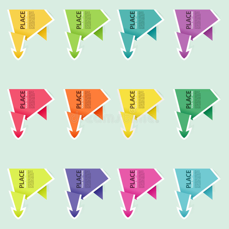 Recoja la flecha de papel de Origami stock de ilustración
