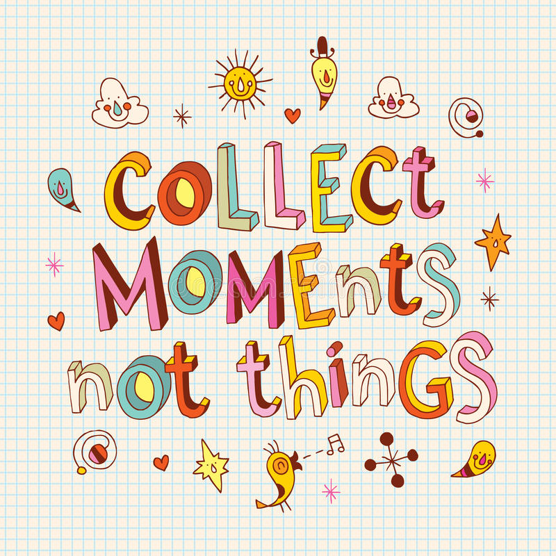 Recoja las cosas de los momentos no stock de ilustración