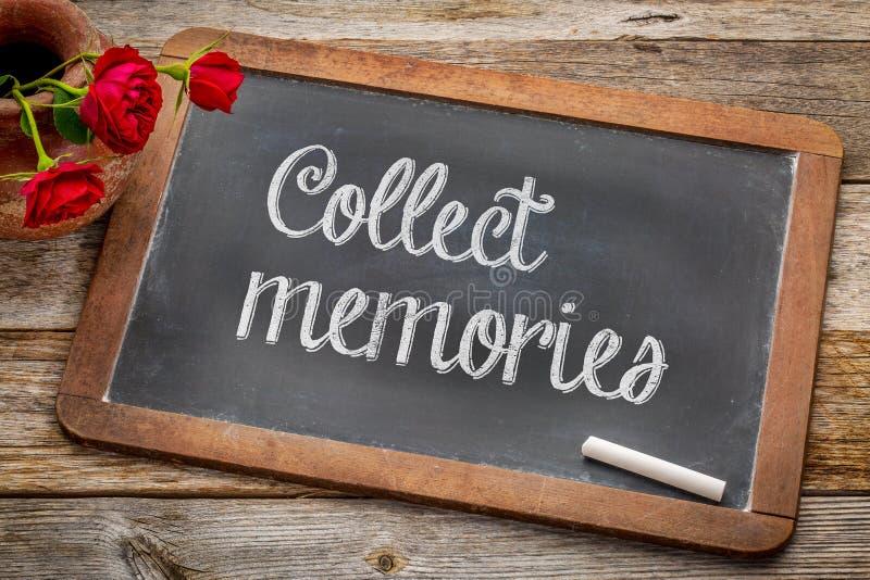 Recoja las memorias en la pizarra fotografía de archivo