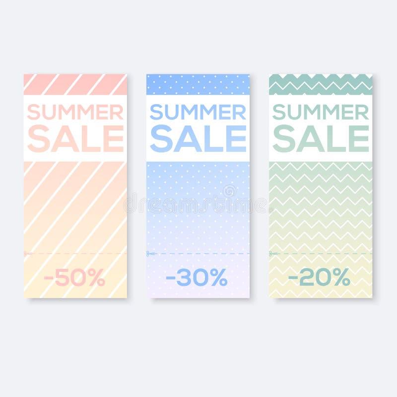 Recoja las muestras de la venta con rasgan la cupón, ilustración del vector