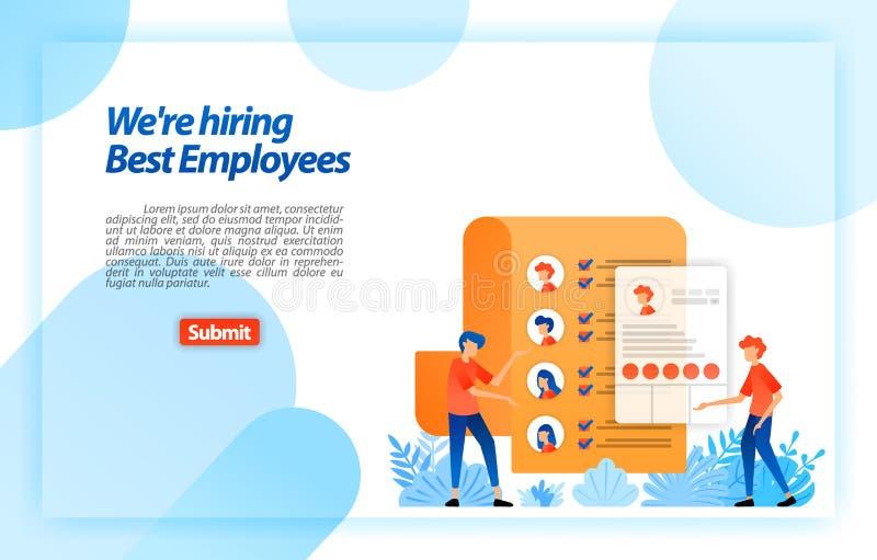 Recoja los curriculums vitae personales del buscador de los datos o de trabajo del trabajador a los mejores empleados anticipados stock de ilustración