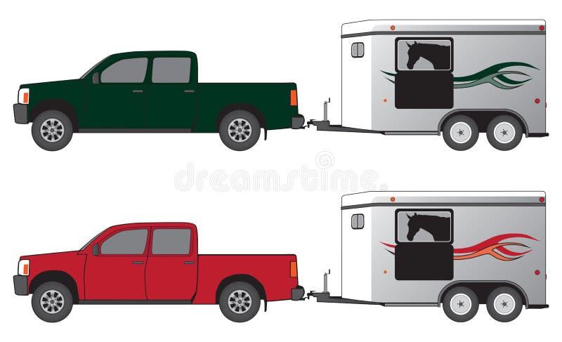 Recolección con el acoplado del caballo ilustración del vector
