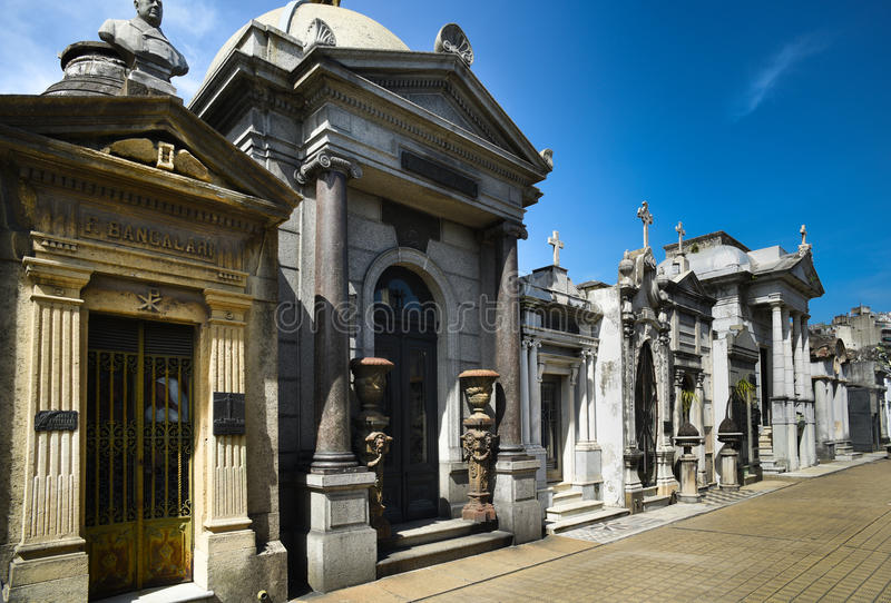 Recoleta Cemetary. One of the highlights of Buenos Aires for tourists is a visit to the expansive mausoleums in the Recoleta Cemetary, Cementario del Recoleta royalty free stock photos