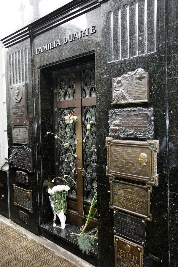 Recoleta della La del cimitero, peron di evita fotografie stock
