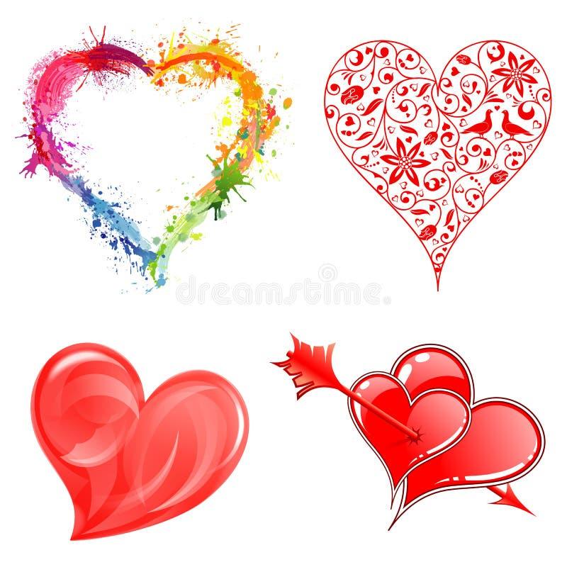 Recolha corações do dia de Valentim ilustração royalty free