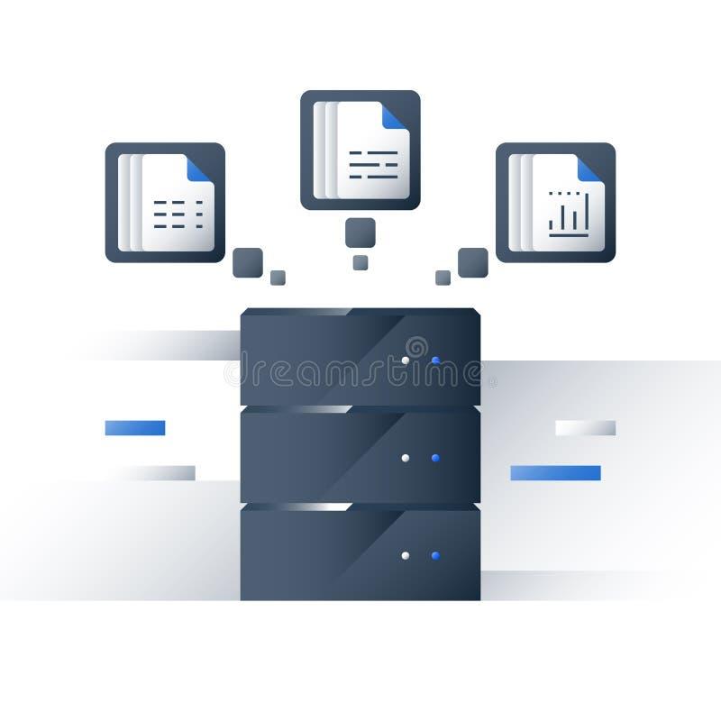 Recolha de informação e processamento, dados grandes que analisam, gráfico do relatório, servidor de dados, tecnologia do negócio ilustração royalty free