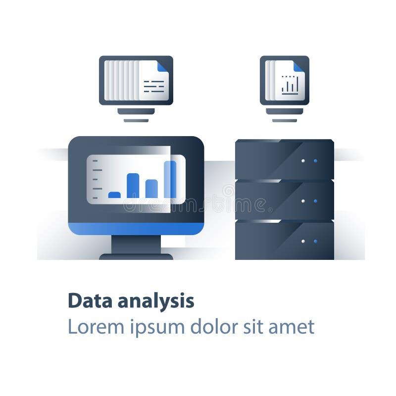 Recolha de informação e processamento, dados grandes que analisam, gráfico do relatório, servidor de dados, tecnologia do negócio ilustração stock