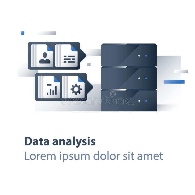 Recolha de informação e processamento, dados grandes que analisam, gráfico do relatório, servidor de dados, tecnologia do negócio ilustração do vetor