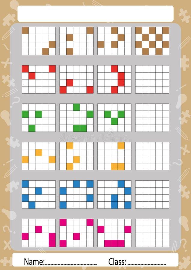 Recolha testes padrões na primeira, segunda e terceira parte, folha para crianças ilustração royalty free