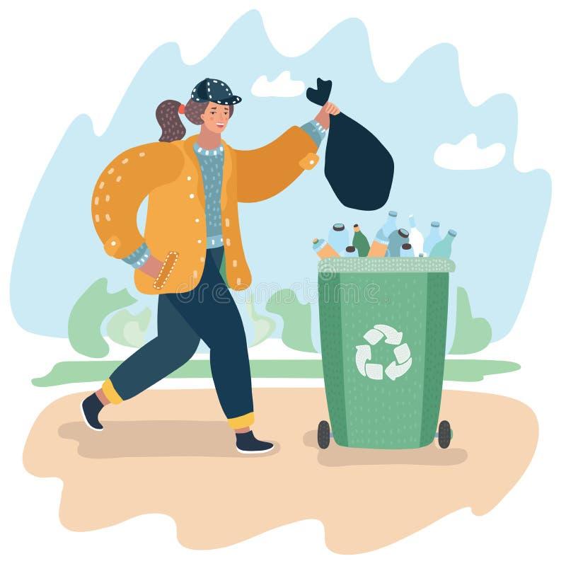Recolhendo, classificando e processo de transporte de lixo ilustração do vetor
