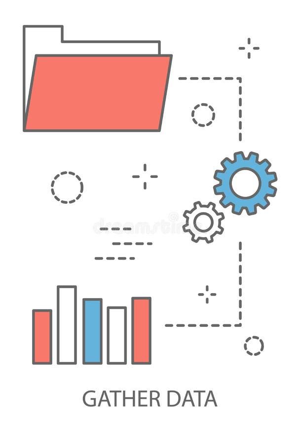 Recolhendo o conceito dos dados ilustração stock