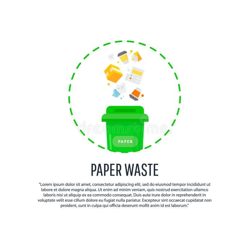 Recolhimento, classificando o processo de lixo ilustração royalty free