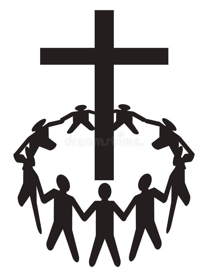Recolhimento dos povos em torno de uma cruz ilustração stock
