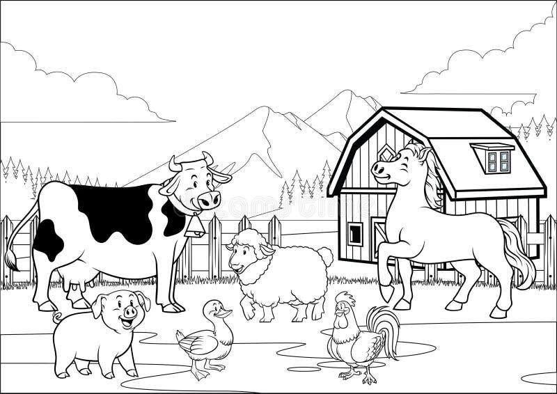 Recolhimento feliz colorindo preto e branco dos animais de exploração agrícola da página ilustração royalty free