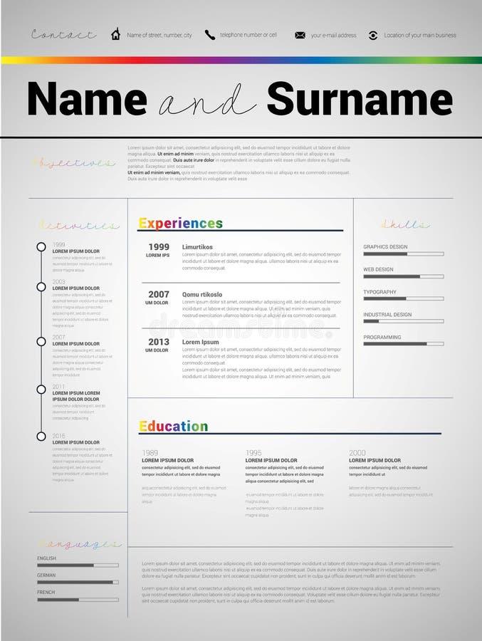 Recomece o CV minimalista, molde do resumo com o projeto simples, compan ilustração stock