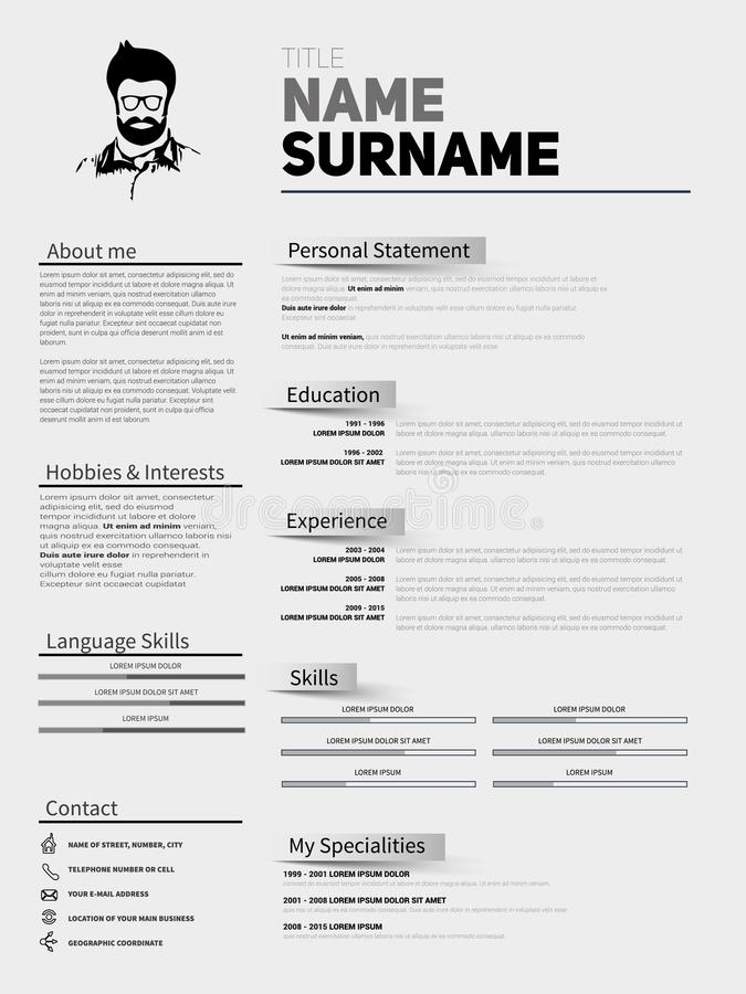Recomece o CV minimalista, molde do resumo com o projeto simples, compan ilustração royalty free