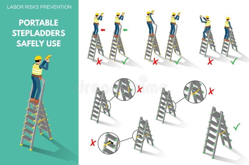 Recomendations about using stepladders safely. Labor risks prevention about using portable stepladders safely. Isometric style scenes on white background. Vector royalty free illustration