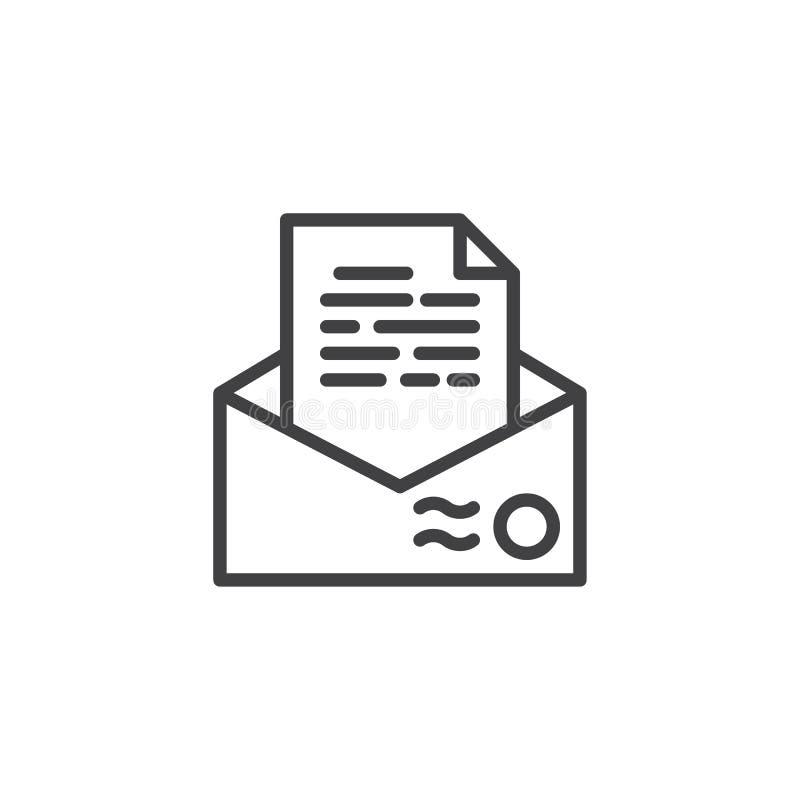 Recommendation envelope line icon royalty free illustration