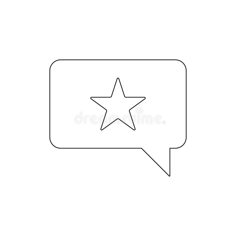 Recommendation star chat outline icon. Signs and symbols can be used for web, logo, mobile app, UI, UX stock illustration