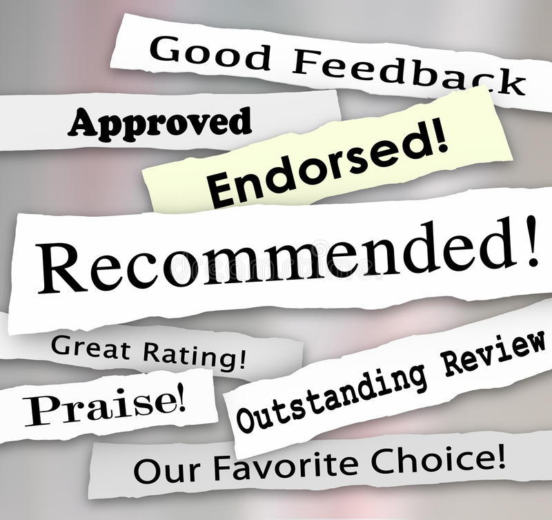 Recommended Approved Review Rating Torn Headlines Words. Recommended and other words on torn or ripped headlines such as approved, good review, great rating stock illustration