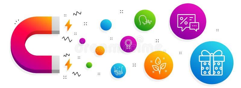 Recompensa, plantas que riegan y que respiran el sistema de los iconos del ejercicio Descuentos, coches de parachoques y muestras stock de ilustración