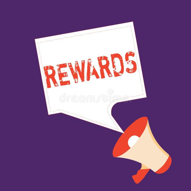 Recompensas del texto de la escritura de la palabra Concepto del negocio para dado en reconocimiento al regalo del premio del log stock de ilustración