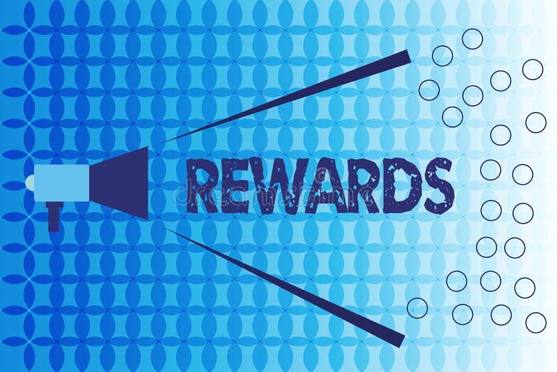 Recompensas del texto de la escritura de la palabra Concepto del negocio para dado en reconocimiento al regalo del premio del log ilustración del vector
