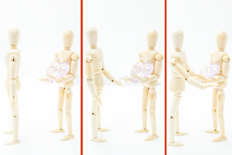 Reconciled couple sharing love and a broken heart stock photo