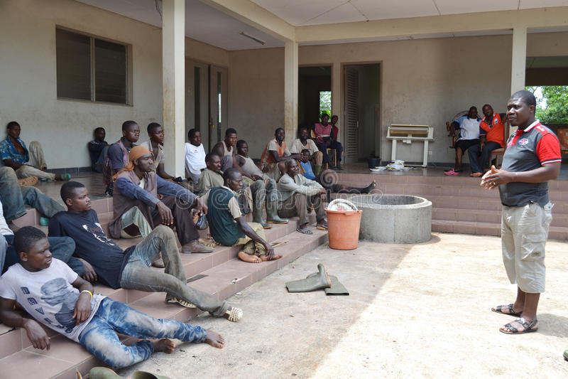 RECONCILIATION DAY. Member of a non-governmental NGO in its quest to rebuild a new Cote d`Ivoire thanks to a population revolted in the west to calm the ardor stock photo