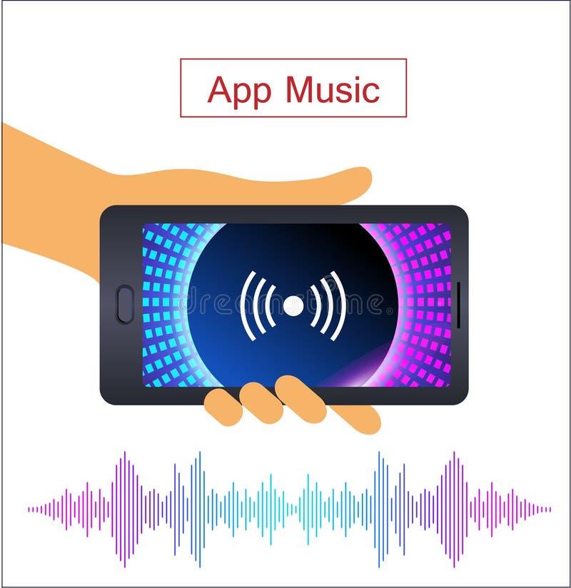 Reconhecimento de voz no app móvel Assistente pessoal, mão humana com smartphone ilustração stock