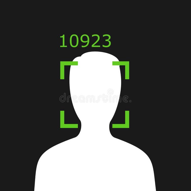 Reconhecimento facial - fiscalização e monitoração da pessoa com a tecnologia moderna ilustração royalty free