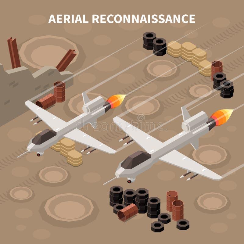 Reconnaissance Drones Isometric Composition stock illustration