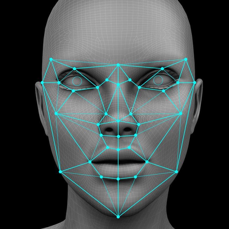 Reconnaissance faciale biométrique sans cheveux illustration libre de droits