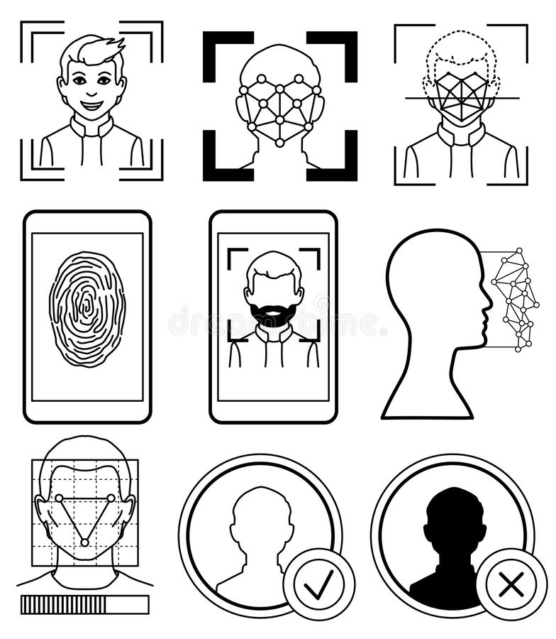 Reconnaissance faciale, empreinte digitale croquis illustration libre de droits