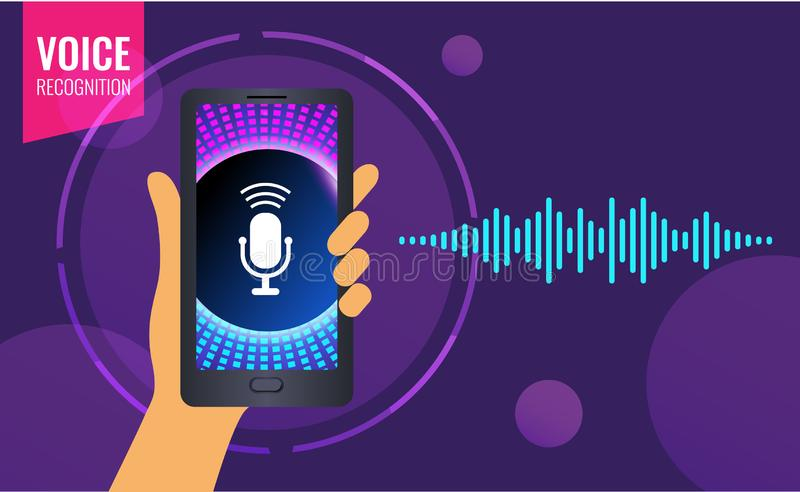 Reconnaissance vocale sur l'appli mobile Assistant personnel, main humaine avec le smartphone illustration stock
