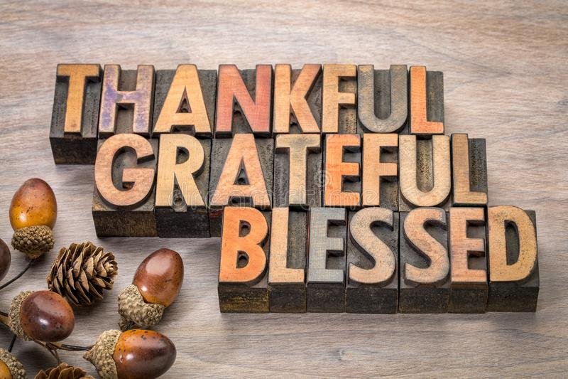 Reconnaissant, reconnaissant, béni - thème de thanksgiving image libre de droits