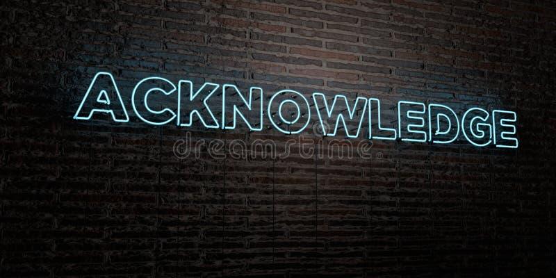 RECONNAISSEZ - enseigne au néon réaliste sur le fond de mur de briques - l'image courante gratuite de redevance rendue par 3D illustration libre de droits