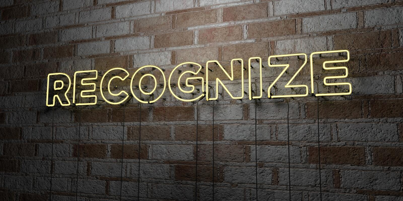 RECONNAISSEZ - Enseigne au néon rougeoyant sur le mur de maçonnerie - 3D a rendu l'illustration courante gratuite de redevance illustration libre de droits