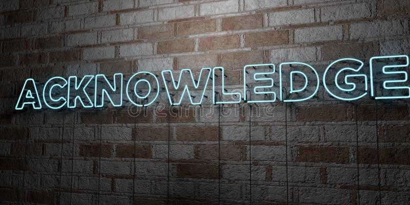 RECONNAISSEZ - Enseigne au néon rougeoyant sur le mur de maçonnerie - 3D a rendu l'illustration courante gratuite de redevance illustration stock
