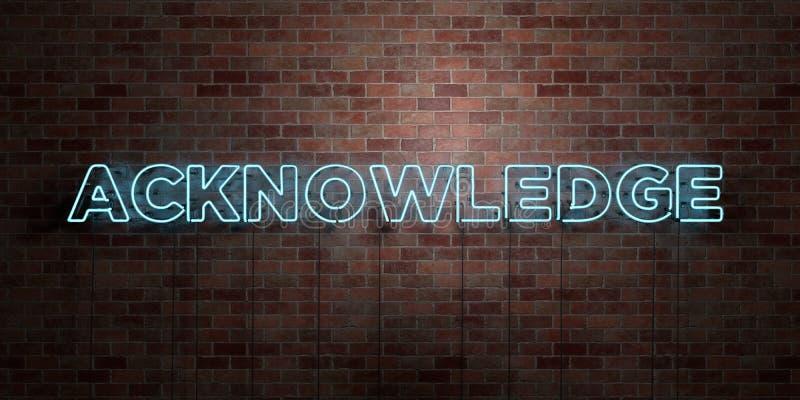RECONNAISSEZ - le tube au néon fluorescent se connectent la brique - la vue de face - photo courante gratuite de redevance rendue illustration stock