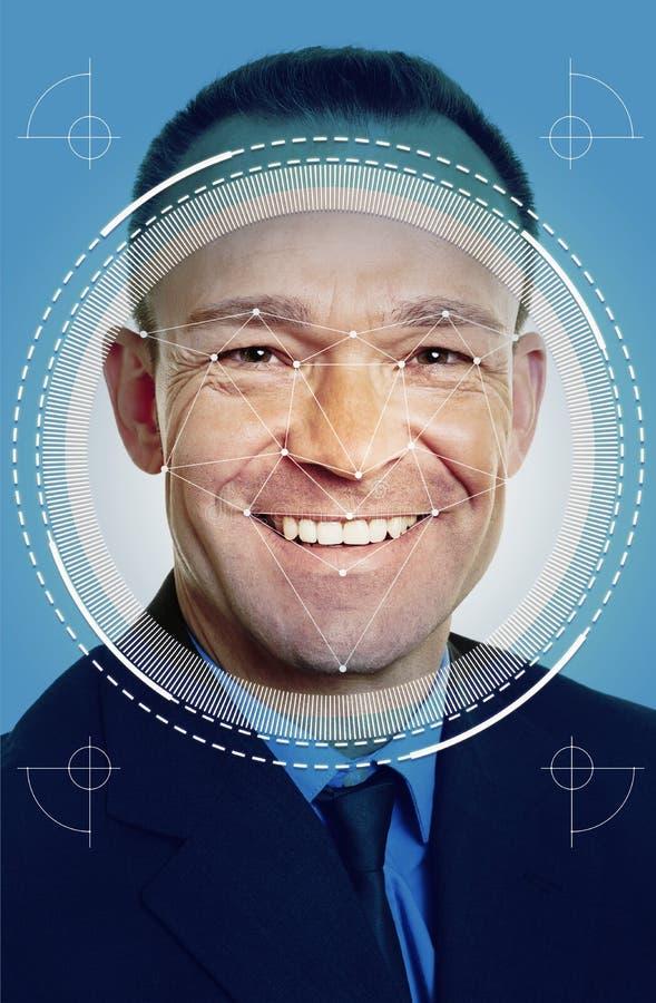 Reconocimiento de cara del AI del hombre de negocios imagenes de archivo