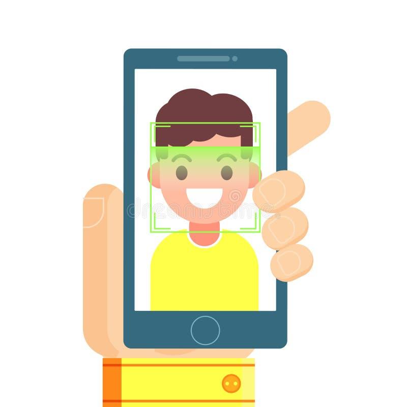 Reconocimiento de cara e identificación móvil ilustración del vector