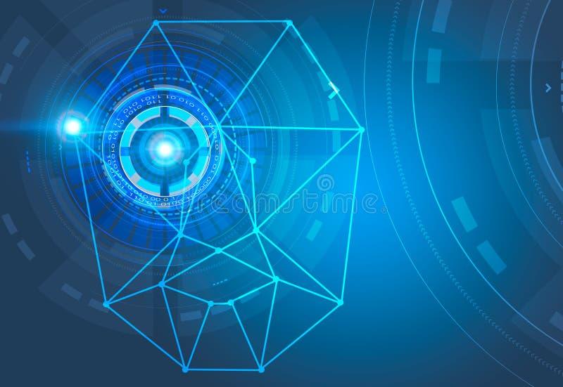Reconocimiento de cara y azul del interfaz de HUD ilustración del vector