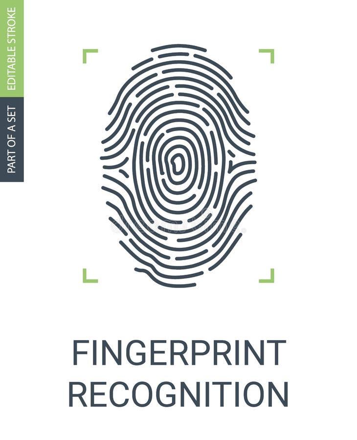 Reconocimiento de la huella dactilar o icono biométrico del acceso a datos stock de ilustración