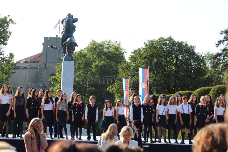 Reconocimiento del parque de Serbia Belgrado Kalemegdan a Francia para la ayuda en el monumento de la Primera Guerra Mundial cons foto de archivo libre de regalías
