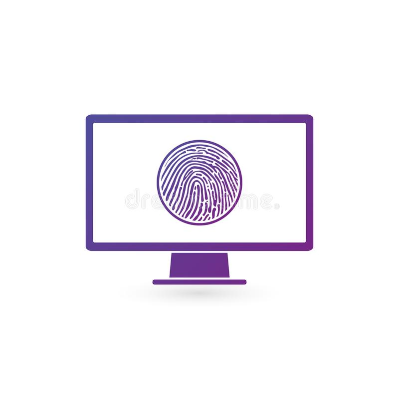 Reconocimiento en el monitor de computadora, concepto de la huella dactilar de los datos de la seguridad ejemplo del vector isola ilustración del vector